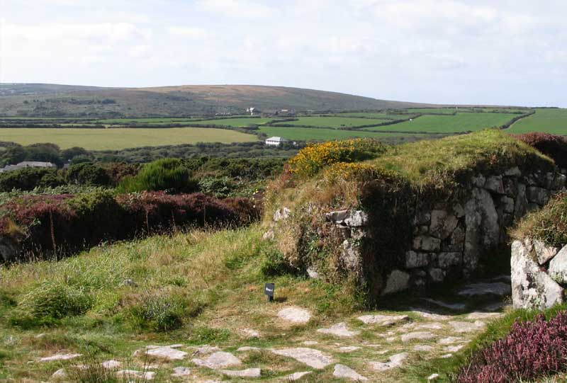 <br>Chysauster looking east to Mulfra Hill., Penwith Local History Group