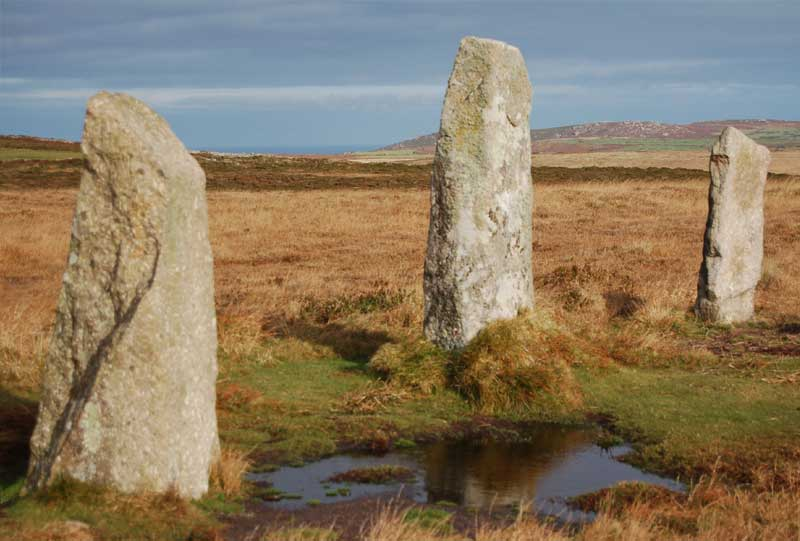 <br>Three of the Nine Maidens, Zennor Hill in background., Penwith Local History Group
