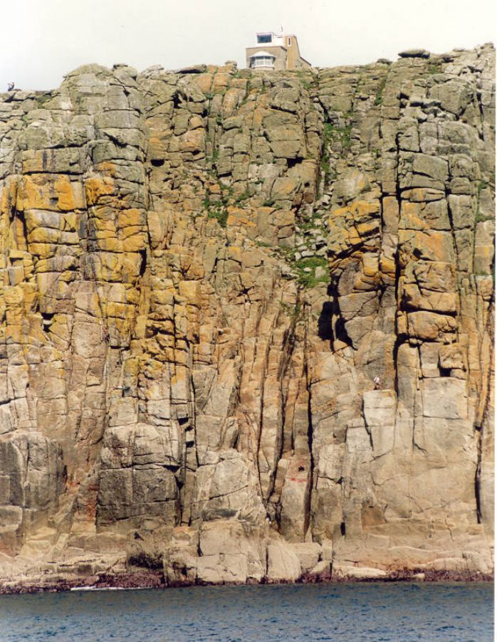 Granite cliffs at Tol-Pedn-Penwith below Gwennap Coast Watch Station. The tough granite rock stands almost vertical against the power of the Atlantic while the faulted face provides good climbing, this pitch is called the Chair Ladder. Picture by Glyn Richards