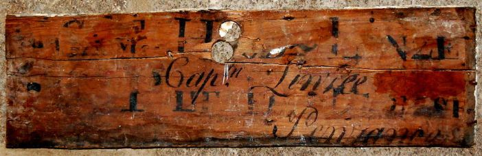 The piece of skirting board from Chapel House stencilled Capt Linzee Penzance (kind permission of Susan Stuart, owner of Chapel House, photo: Ted Mole)