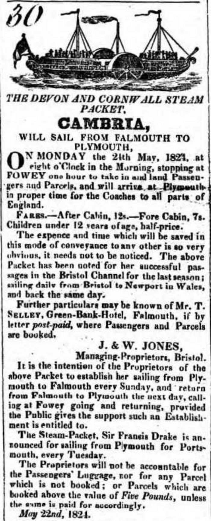 Advertisement for the new steam-packet service between Plymouth and Falmouth, Royal Cornwall Gazette 22 May 1825 (courtesy Morrab Library)