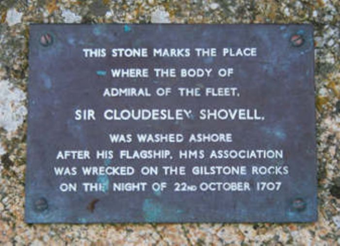 The plaque from the Cloudesley Shovell memorial, Porthellick, St Mary's (extracted from an original photo by David Lally at geograph.org.uk)