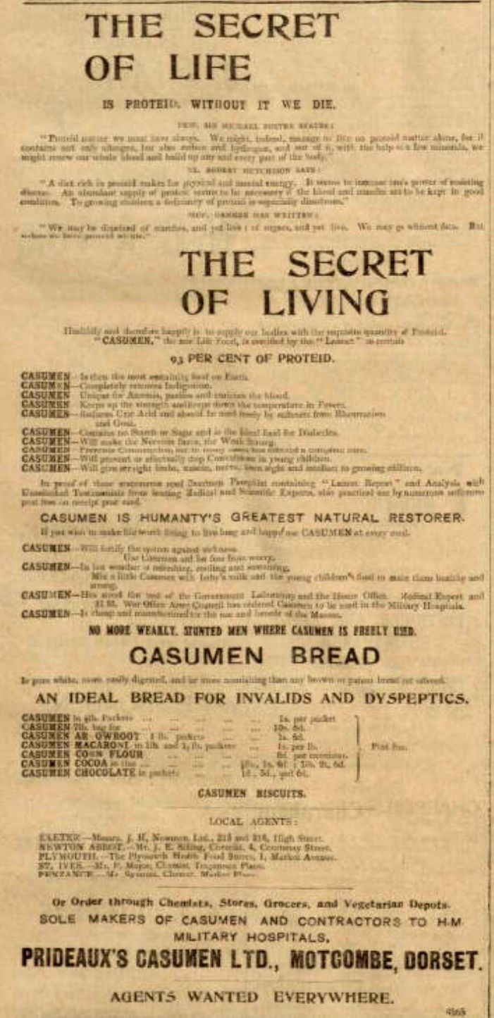 Advertisement for Casumen. (courtesy of The Cornish Studies Library)
