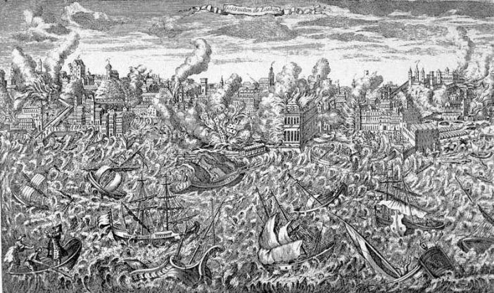 Lisbon in Flames and Overwhelmed by the Tsunami of 1755 (unknown artist, sourced from Wikipedia: https://en.wikipedia.org/wiki/1755_Lisbon_earthquake)