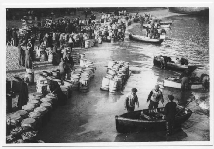 Pilchard packing on the beach at St Ives (courtesy Morrab Library Photo Archive)