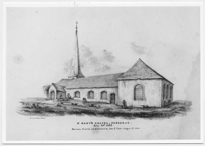 St Mary's Chapel, Penzance, July 1832 (Courtesy of Morrab Library Photo Archive)
