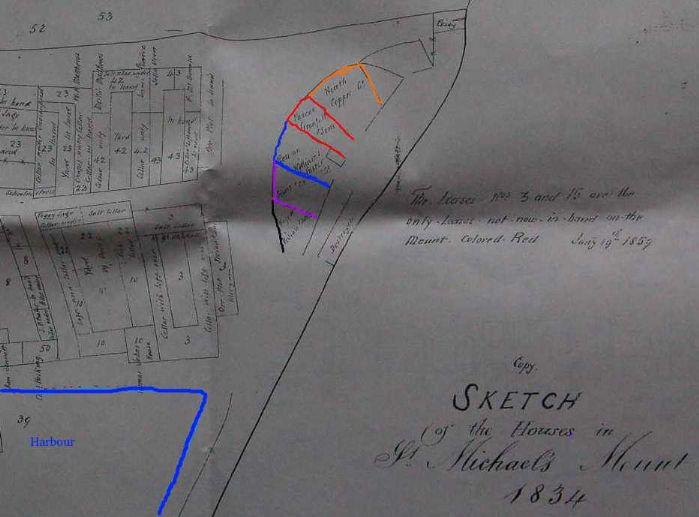 Ore plots on St Michael's Mount: black - John Vivian; Mauve - Sims; blue - Williams Foster; red - Pascoe Grenfell; yellow - Neath Copper Co. The harbour is shown in blue at the bottom left. (original plan obtained from St Michael's Mount office, with thanks)
