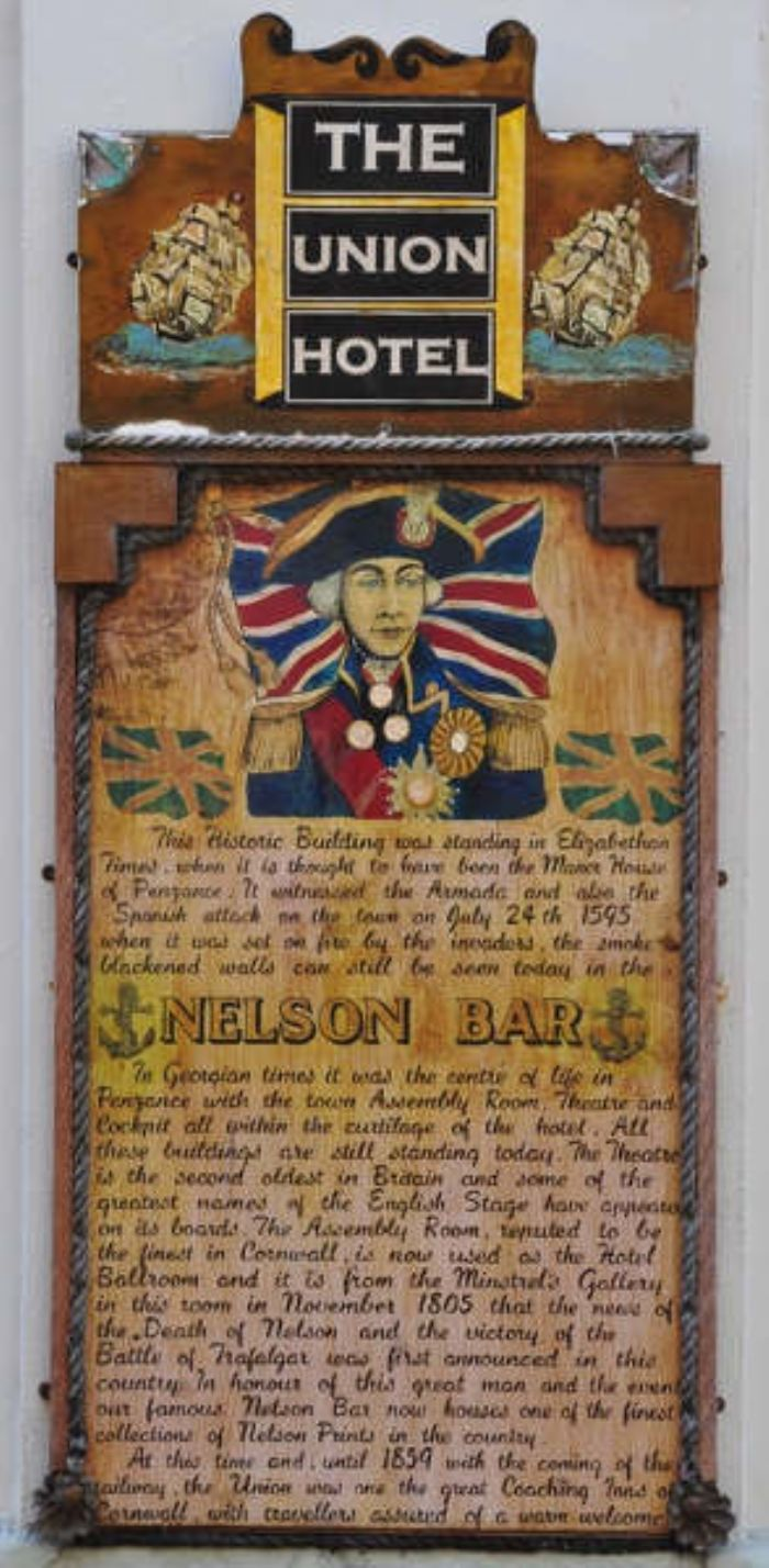 Plaque from the Nelson Bar of the Union Hotel in Penzance (photo; Robin Stevens)