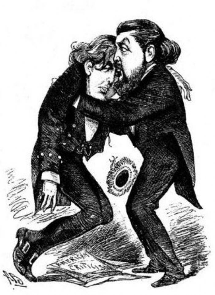 Typical cartoon representation of Oscar Wilde. The playwright is shown in a state of collapse following a professional setback in America, earlier in 1883 (Wikipedia)