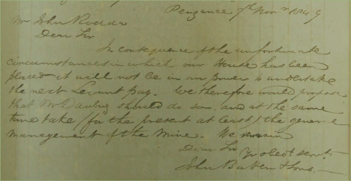 John Batten's note to John Rodda as copied into the Levant Cost Book July/August 1849