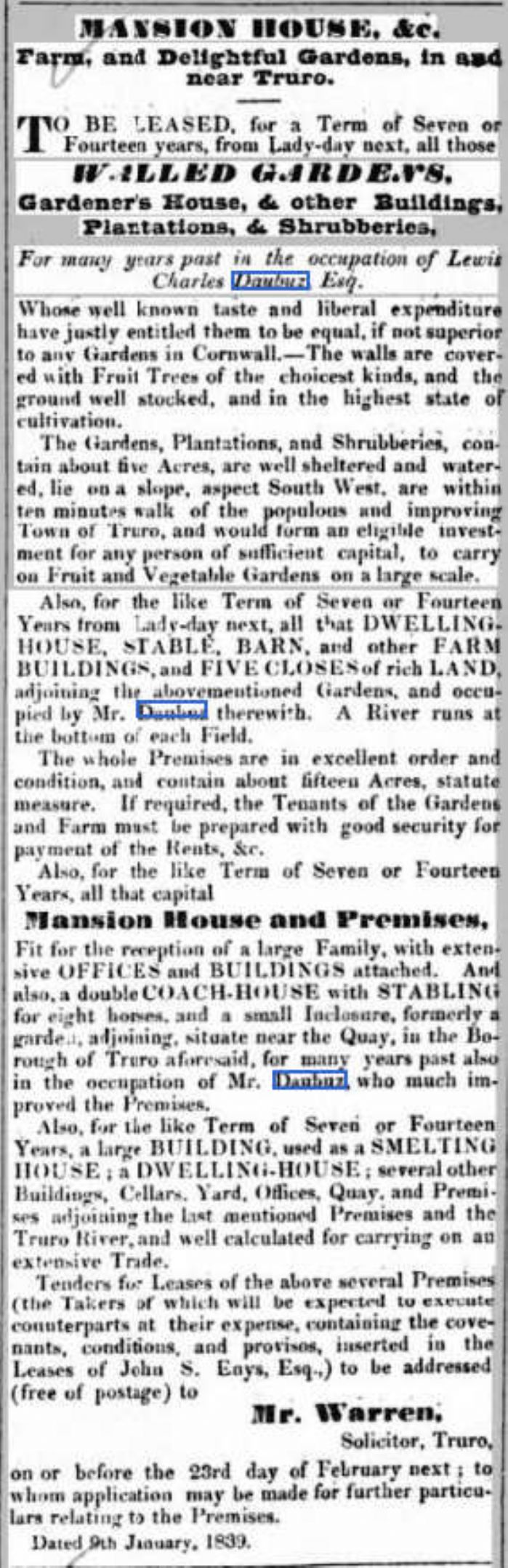 The Daubuz property offered for lease in the Royal Cornwall Gazette (Morrab Library)
