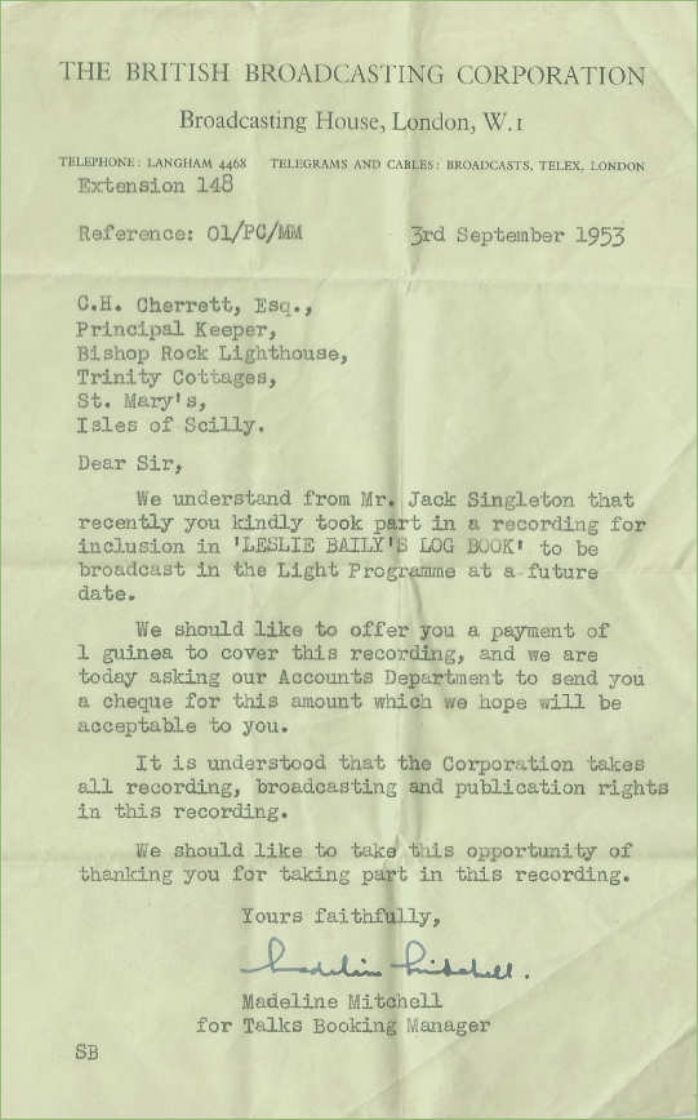 Letter from the BBC to Charlie Cherrett (courtesy of Lynda White)