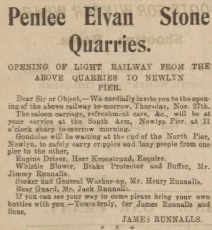 James Runnalls' invitation to attend the opening of the Penlee Quarry Railway as carried by the Cornishman of 4 December 1902 (Courtesy Morrab Library)