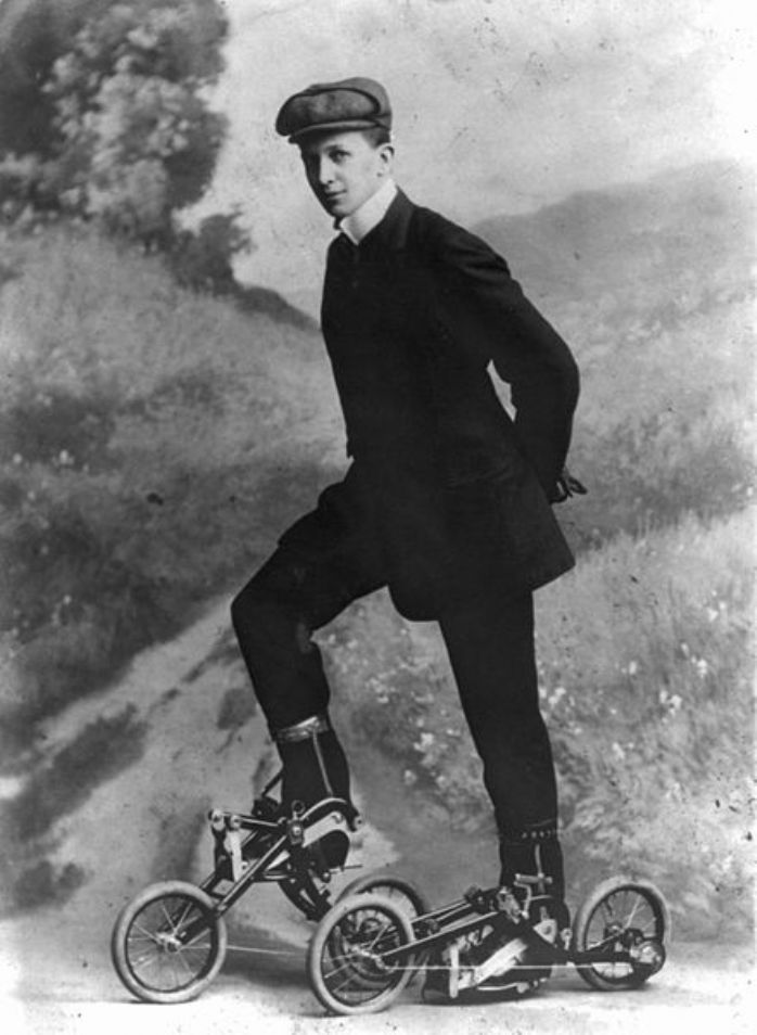 Cutting a dash in 1910 with pedal-powered skates. They look absolutely lethal to me! (image courtesy of Wikimedia)