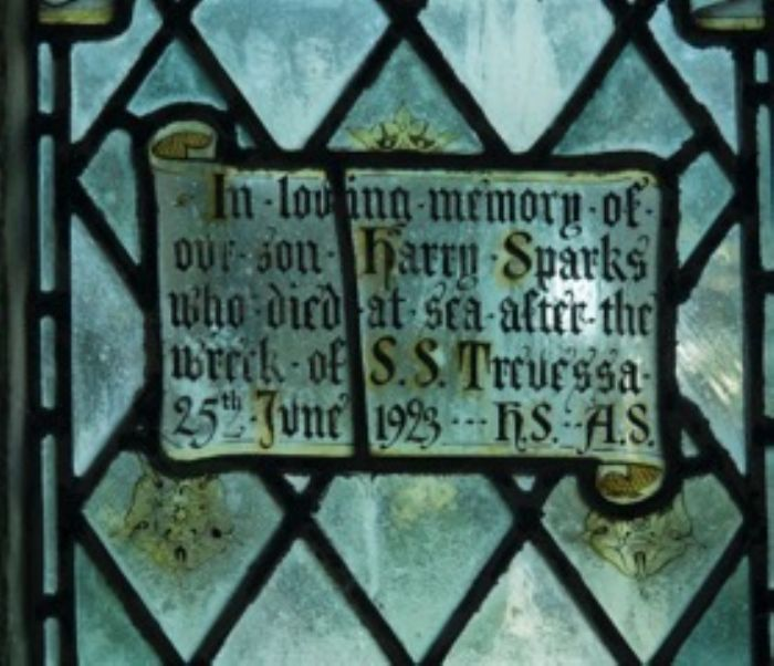 Memorial window in Lelant church to Harry Sparks of the Trevessa who died at sea on the voyage to Mauritius (photo Marion Williams)