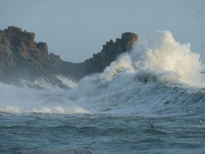 Big waves at Porthcurno February 2014