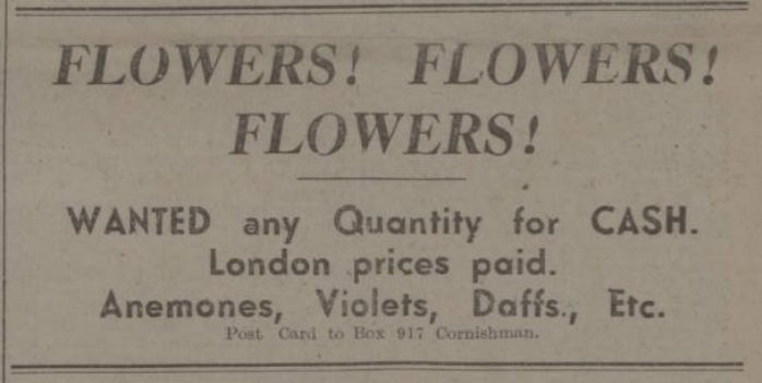 Flowers wanted, advert in Cornishman
