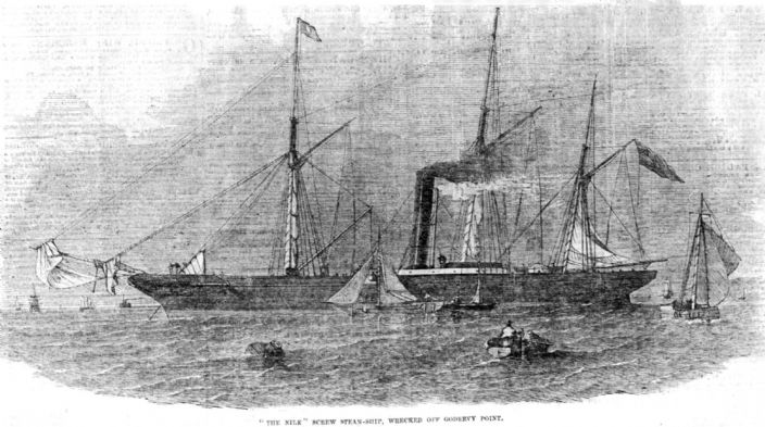 SS Nile built on the Clyde 1850 wrecked Godrevy, Cornwall 1854