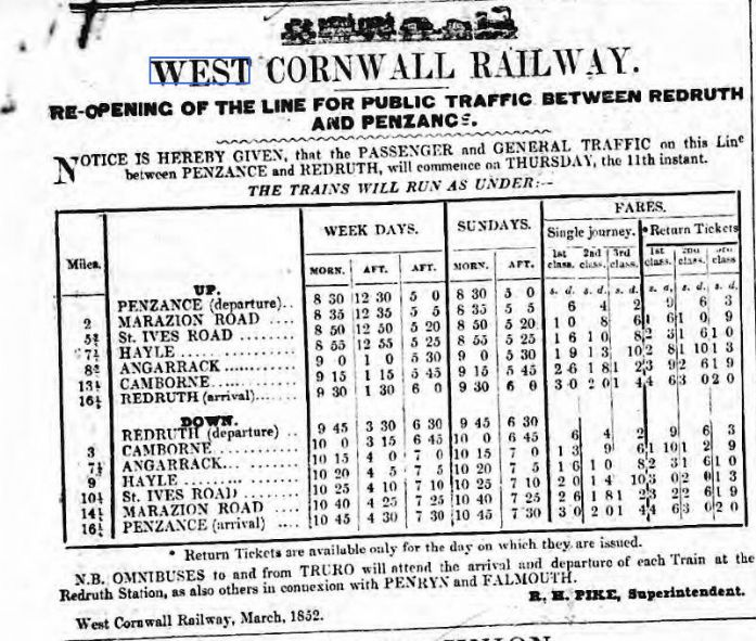 West Cornwall Railway Timetable March 1852