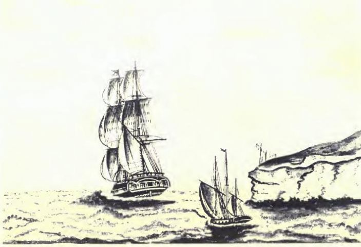 Capture of the Friendship in 1804 drawn by John Tregerthen Short