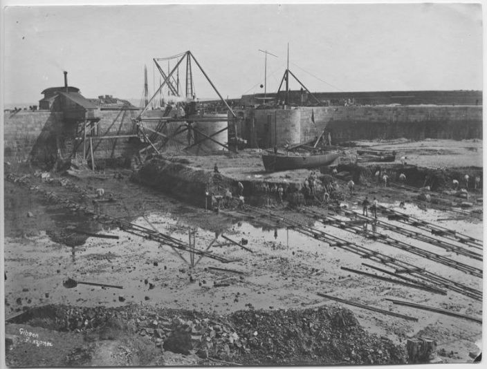 Penzance floating dock under construction, photo courtesy of Morrab Library Photo Archive