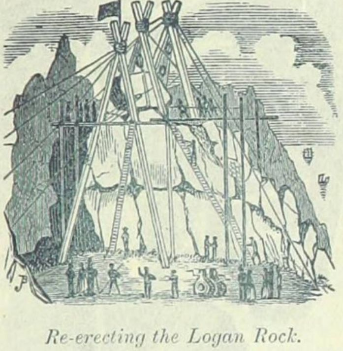 The Re-erection of the Logan Rock from Rodda's Guide to Penzance, 1894 Edition.