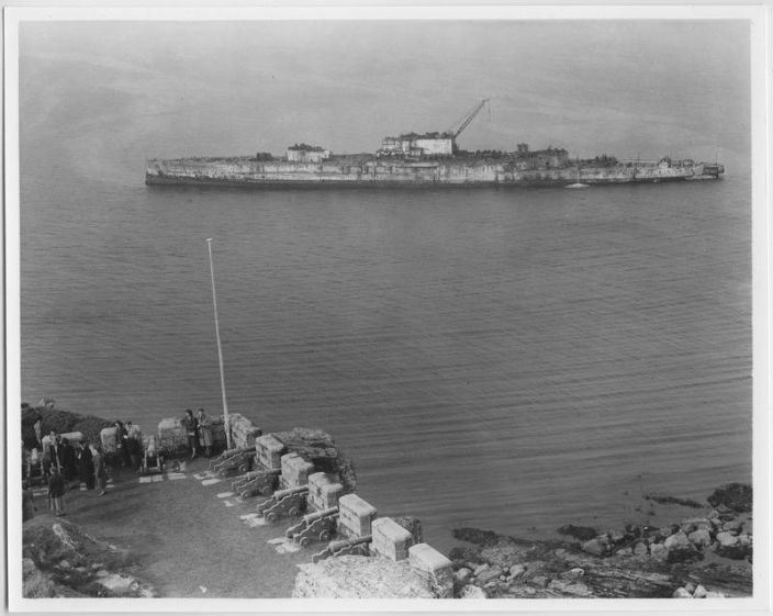 HMS Warspite being broken up on the beach by St Michael's Mount 1950-1951, photo courtesy of the Morrab Photo Archive