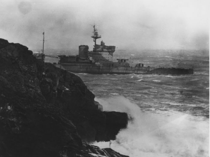 HMS Warspite aground off Prussia Cove: Photo courtesy of the Morrab Photo Archive
