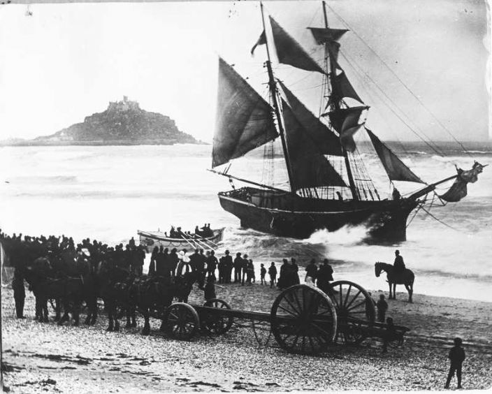 Jeune Hortense aground on Long Rock sands, courtesy Morrab Library Photo Archive