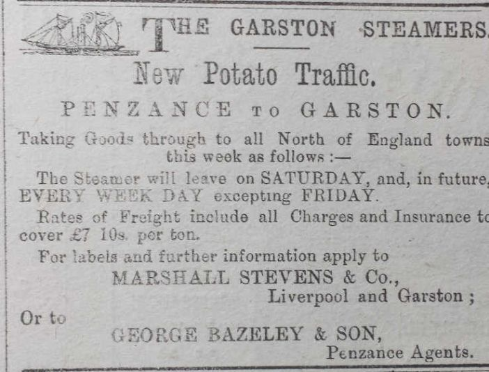 Advert for the new potato steamer, Cornishman 25 May 1882