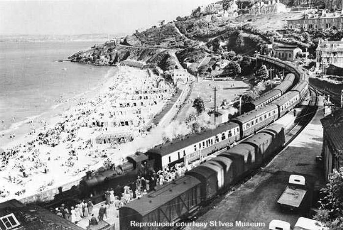 A summer Saturday at St Ives station with the Cornish Riviera arriving (courtesy of St Ives Museum)