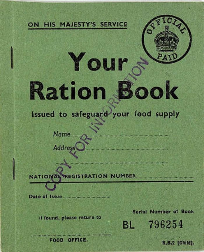 Child's ration book, WW2