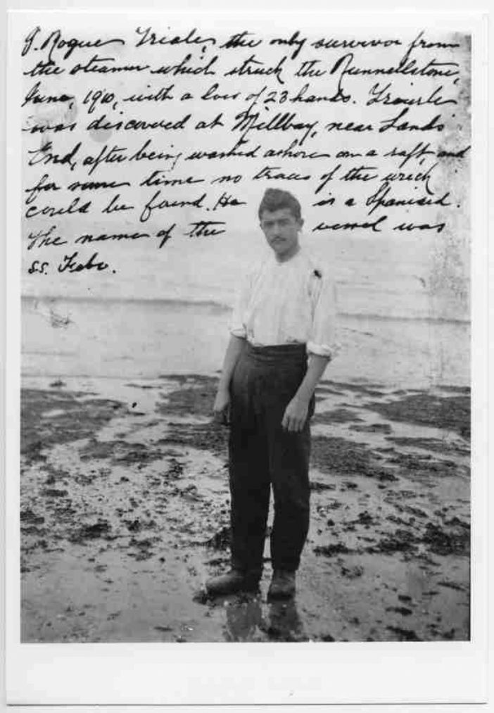 Roque Iriarte, sole survivor of the wreck of the Febrero on the Runnelstone in 1910  (courtesy of Morrab Library Photo Archive)
