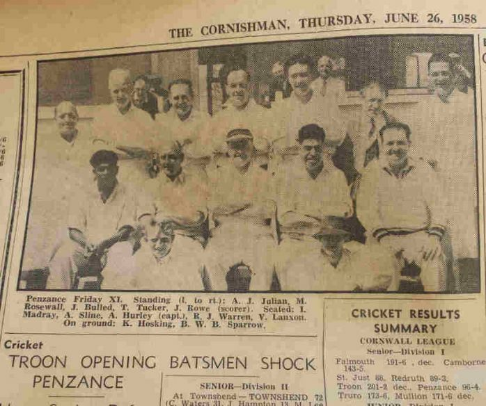 Penzance Cricket Team 1958, Cornish Studies library