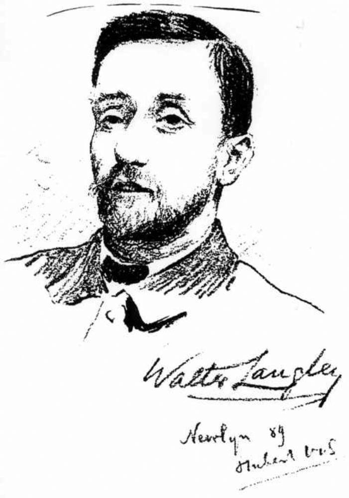 Walter Langley, from a chalk drawing by Hubert Vos. From Newlyn and the Newlyn School, Magazine of Art, 1890.