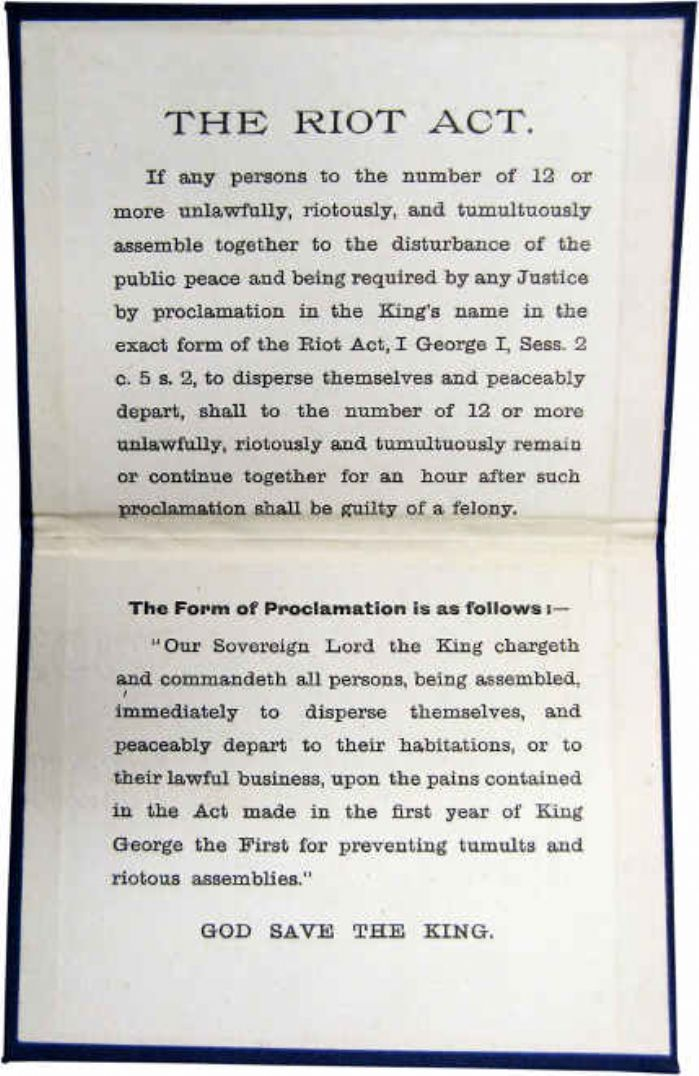 The Riot Act 1714, the lower part contains the proclamation which was to read out (photo of an early 20th century original, public domain)
