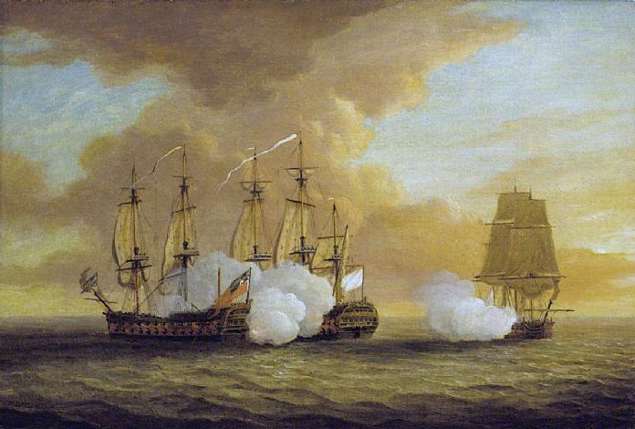 The battle between HMS Lion (on the left) and the French 64 Elizabeth (in the centre), Du Teillay is the smaller vessel on the right and took little part in the fight. The painting is by Dominic Serres c1780 and is held in the collection of the National Maritime Museum in Greenwich, the image is public domain.
