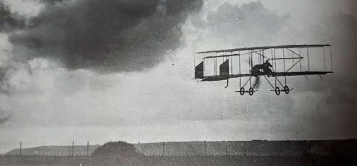 Grahame-White lifting off from Poniou in his Farman III biplane on the evening of 23 July 1910.  This was the first powered flight to take place in Cornwall. (source: Aviation in Cornwall, Peter London, Air Britain Historians, 1997)