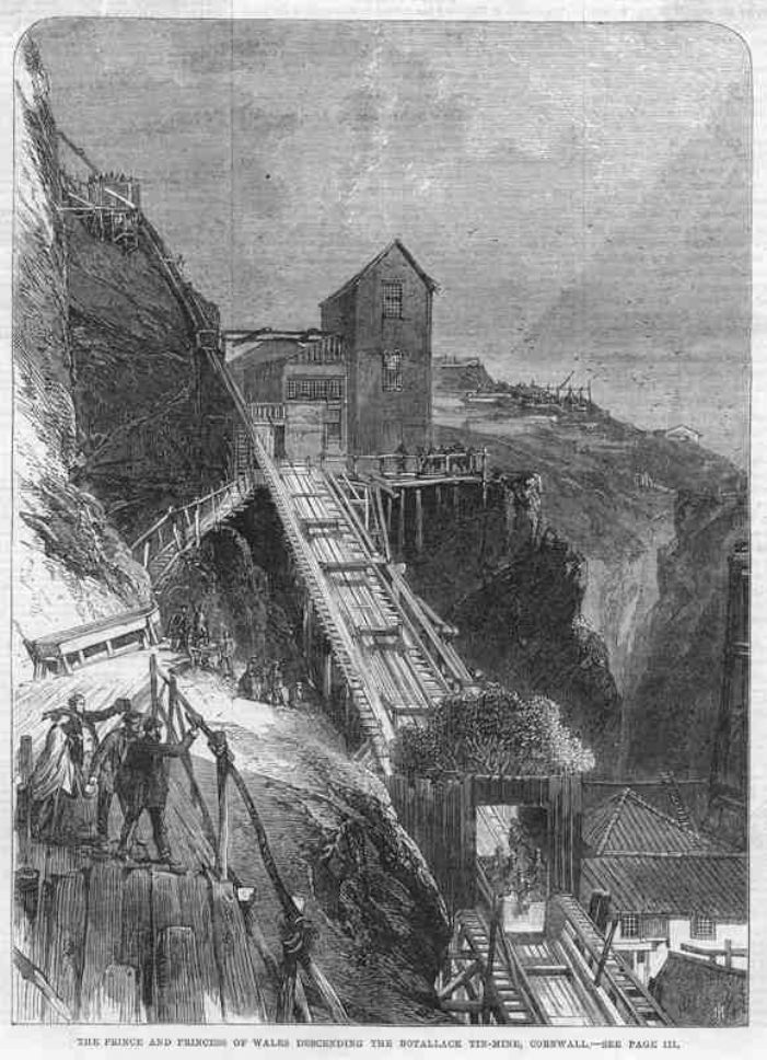 Prince and Princess of Wales taking the gig down the tresle of the Boscawen Incline Shaft at Botallack Mine, July 24 1865 (open source via Wikipedia)