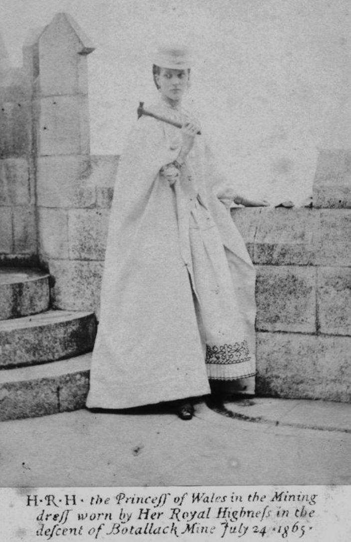 Princess Alexandra photographed at St Michael's Mount in the dress she was to wear for her descent of the Boscawen Incline Shaft at Botallack (image: kind permission of Malc McCarthy)