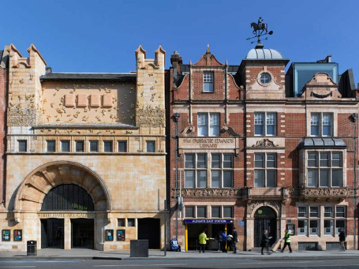 The Whitechapel Gallery - this view almost looks like something from a different age with a public gallery, a public library and a public transport system all next to each other in the view (photo courtesy of the Whitechapel Gallery)