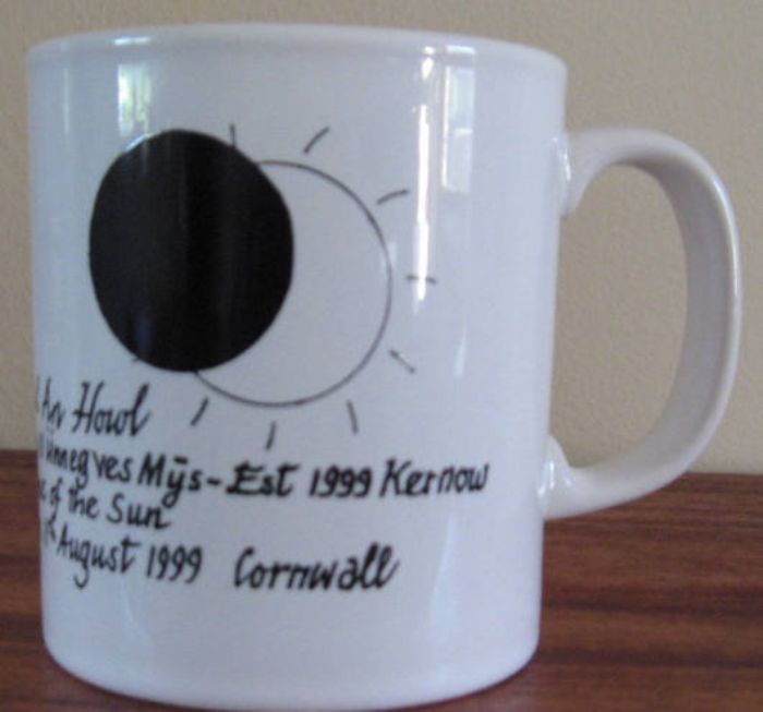 Commemorative mug from the 1999 eclipse (collection of Carrie Baker)