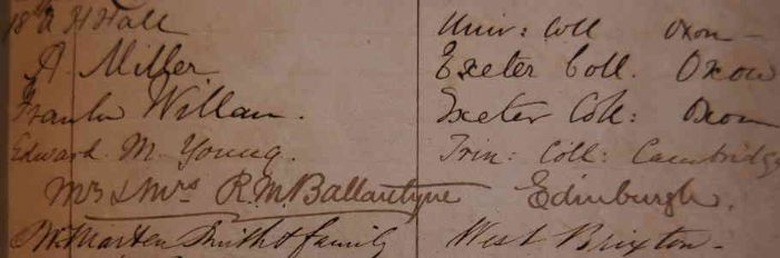 R.M. Ballantyne's entry is the Botallack Visitors Book, August 17, 1868, note the three Oxford Dons in the entries above (Photo Ted Mole, courtesy of the Courtney Library, Royal Institution of Cornwall, Truro)
