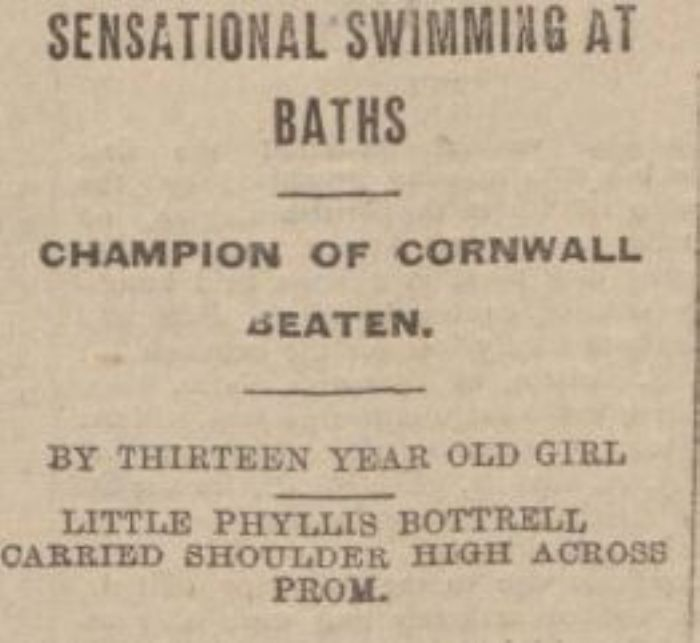 Newspaper headline following Phyllis' famous victory.