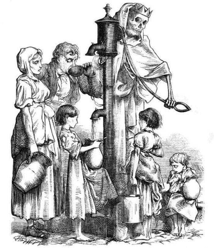Death's Dispensary - the sewage contaminated Broad Street pump identified by John Snow (first published in Fun magazine 18 August 1866)