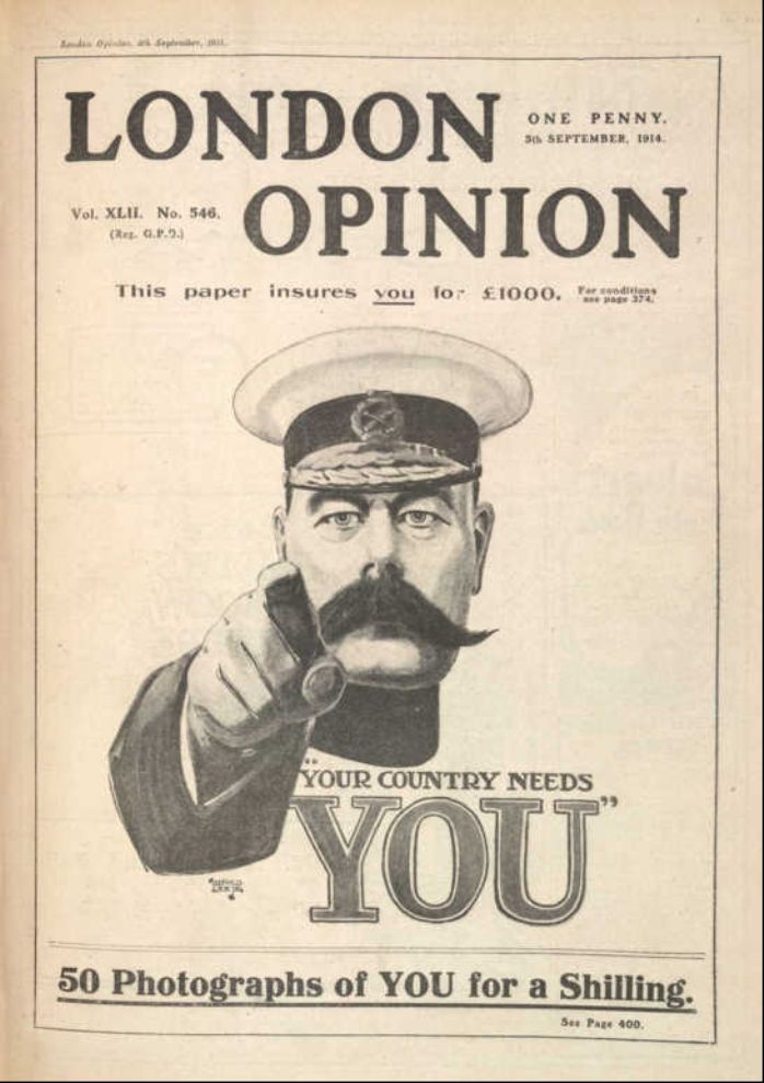 Recruiting poster from 1915 prior to conscription.