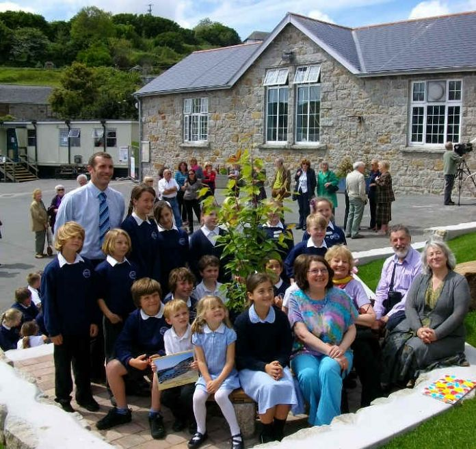 Mousehole School and playground on the occasion of a visit by some of the Jewish refugees who came to Mousehole from London's East End during WW2