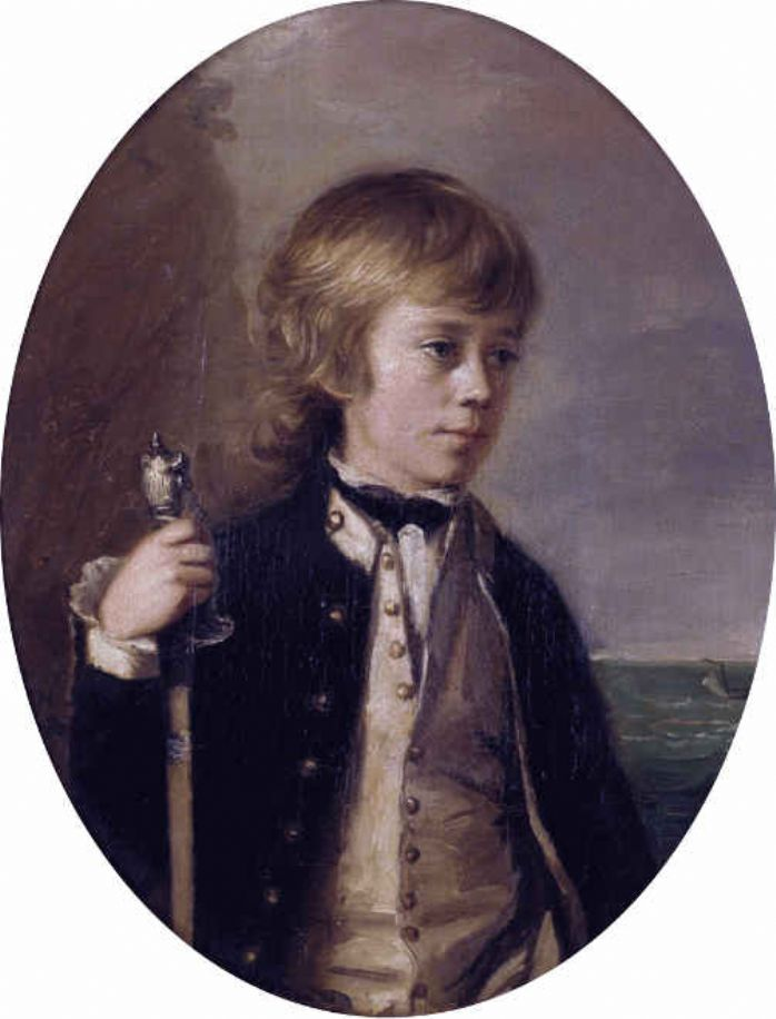 Henry William Baynton painted by Thomas Hickey. Baynton was a 13 year old midshipman when painted by Thomas Hickey, he served on board Cleopatra with Walter Tremenheere (public domain via Wikipedia)