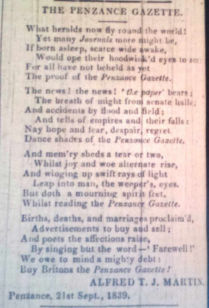 Immortality for the Penzance Gazette  (courtesy of Cornish Studies Library)