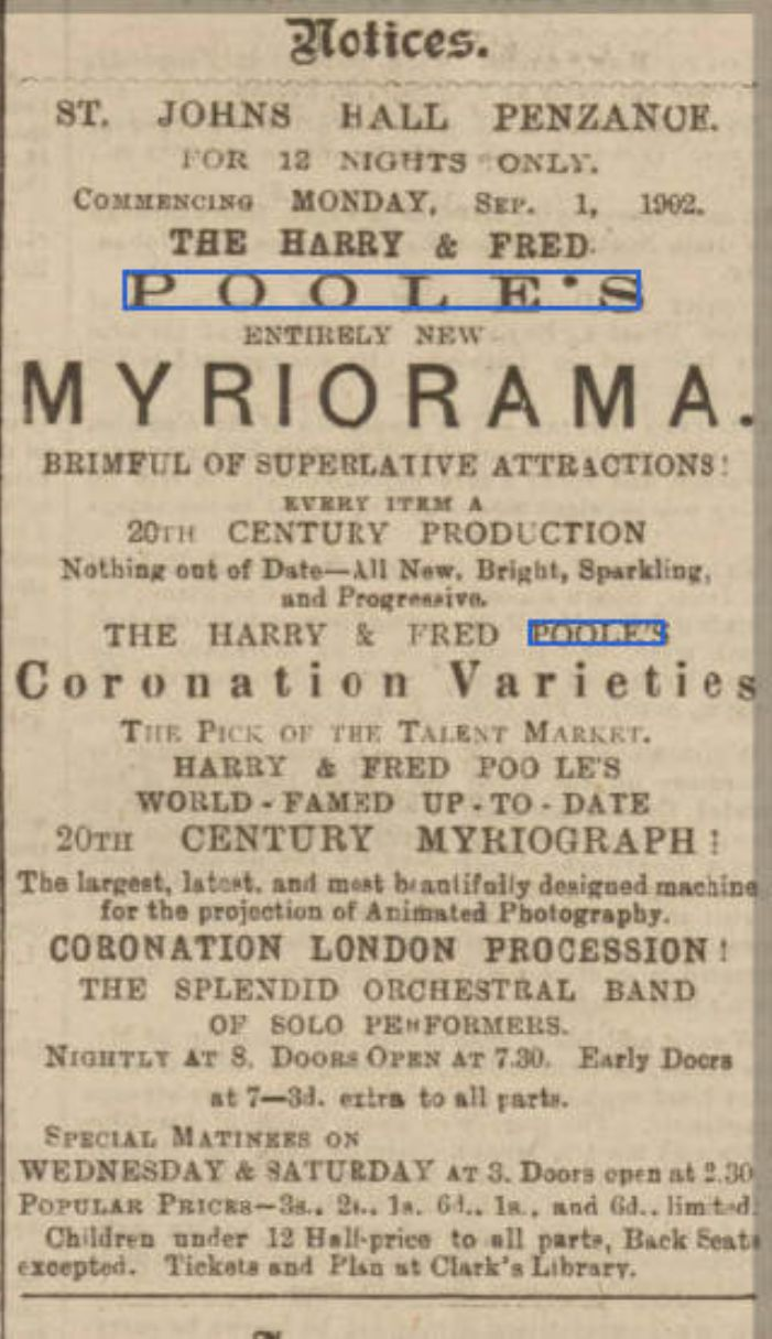 Poole Myriorama as advertised in the Cornishman (courtesy of Cornish Studies Library)